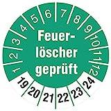 10 Stück Feuerlöscher geprüft 30 mm rund Prüfplaketten Prüfetiketten Prüfaufkleber türkis 2019-2024