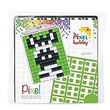 P23013 Pixel Set Medaillon Zebra, Schlüsselanhänger für Kinder zum Selbstgestalten, kinderleichtes Stecksystem, ohne Bügeln und Kleben, Steinchen aus Biokunststoff