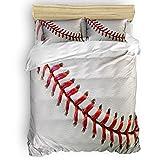 Home Collection dh Luxus-Bettwäsche-Set für Kinder und Erwachsene, 3D-Baseball-Druck, superweiches Bettwäsche-Set, enthält 1 Bettlaken, 1 Deckenbezug und 2 Kissenbezüge, King-Size-Bett