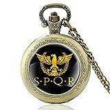 SPQR Römisches Reich Vintage Quarz Taschenuhr Männer Frauen Glaskuppel Anhänger Halskette Stunden Uhr
