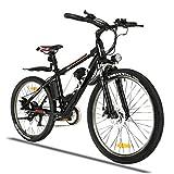 Winice E Bike Herren 350W Ebike Mountainbike 26 Zoll Elektrofahrrad für Erwachsene mit Abnehmbarer 36V/8Ah Batterie Shimano 21-Gang-Elektrofahrrad 3 Arbeitsmodi (Schwarz)