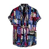 Drucken Kurzarm Sommer Casual Button knöpft Druck-Hemd Männer Sommer-beiläufige Loses kurzes t Größen-Bluse Kurzarm T-Shirt männer Hawaiianisches Herren Druckhemd Ethnische Kurzarm