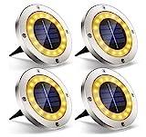 Solarleuchten für Außen Garten Deko, 4 Stück 16 LED Flache Solarlampen mit Warmweißen Licht Einbaustrahler Solar Bodenleuchten Wegeleuchten für Beleuchtung Aussen Boden Terrasse Balkong
