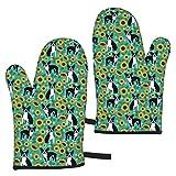 YudoHong Boston Terrier Sonnenblumen-Hunde und Sonnenblumen-Blumen, Türkis, dicke lange Ofenhandschuhe mit gesteppter Baumwolle für Küche, Kochen, Grillen, Grillen