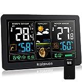 Kalawen Wetterstation mit Außensensor Funk 9-IN-1 Farbdisplay Digital Funkwetterstation DCF-Funkuhr Thermometer Hygrometer Regenmesser und Uhrzeit Anzeige für Zuhause Büro Hausg