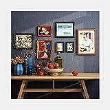 Hängende Fotoanzeige. Foto Wandkombination Hintergrund Wandkunst Bildrahmen Massivholz Große Bilderrahmen Wohnzimmer Dekoration Wandkombination 7 Sätze (Color : Black+)