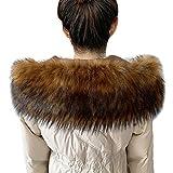 MAGIMODAC Damen Herren Pelzkragen Fellkragen Fellstreifen Kunstpelz Fell Pelz Kragen Streifen Pelzschal für Mantel Kapuze 70cm-90cm (Braun, 70cm/27.55'')