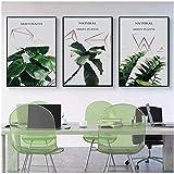 Nordic Grüne Pflanze Blatt Leinwand Poster Zitate Druck Skandinavischen Stil Malerei Dekoratives Bild Moderne Wohnzimmer Dekor-40x60cmx3 Kein Rahmen