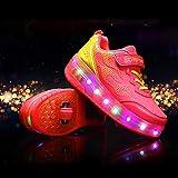 Kinder-Sneaker mit LED-Ladefunktion für Rollschuhe; wiederaufladbar, für Kinder (Größe: 42, Farbe: Rosa)