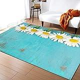 Kreativer 3D-Teppich Mit Weißer Chrysantheme, Im Wohnzimmerkorridor Rutschfester Teppich, Weicher Polyesterteppich 120x160cm