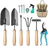 MOSFiATA Gartenwerkzeug Set 12-teiliges Handwerkzeugset aus Kohlenstoffstahl, ausgestattet mit Spaten, Schere, Sprühgerät, Rechen, Astschere, dem besten Gartengeschenk des Unkrautgärtners