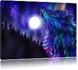 Abstrakter Wolf mit Mond Format: 80x60 auf Leinwand, XXL riesige Bilder fertig gerahmt mit Keilrahmen, Kunstdruck auf Wandbild mit Rahmen, günstiger als Gemälde oder Ölbild, kein Poster oder Plakat