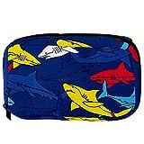 Lorvies Haifisch-Motiv, Marineblau, Gelb, Rot, Kosmetiktasche, Reisetasche, Kulturbeutel für Frauen