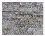 1 Muster W-021 Travertin Silver Grey Wandverblender Wandverkleidung Naturstein Wand Design Natural Stone Wall Cladding - Fliesen Lager Verkauf Stein-Mosaik Herne NRW