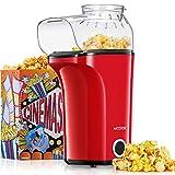Aicook™ Popcornmaschine 1400W, Heißluft Popcorn Maker Machine für Zuhause, Große Kapazität für bis zu 120g Mais, Heißluft Popcorn maker ohne Fett & Öl, Abnehmbarer Deckel, BPA-Freie