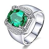 KnSam Herren Ring, Ring Gold Rosegold 18K Weiß Gold Ehering 750 18K Mit 3.6ct Smaragd Diamond Weiß Gold