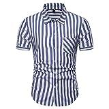 ZYUD Herrenhemd Gestreiftes T-Shirt Schmale Bluse Reverskragen Kurzarm Tops Atmungsaktive Kleidung Herren Poloshirt Sommer Poloshirt Kurzarm Revers Gestreift Klassisch Casual Polo T-Shirt