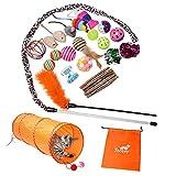 Toozey Katzen Spielzeug, Katzenspielzeug Set mit Katzentunnel, Bälle, Federspielzeug, Plüschspielzeug, Spielzeugmäuse Katzen Spielzeug Variety Pack für Kitty Katzen, 26 Stück