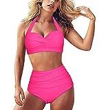 AFFGEQA Damen Bikini Set Push Up Zweiteilige Einfarbig High Waist Badeanzug Bademode Bauchweg Bikini Unterteile Swimsuit Bikinihose Strandkleidung
