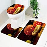 3-teiliger Rutschfester Badezimmerteppich + Toilettenbezug mit Deckel + B