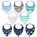 Baby Dreieckstuch 8er Lätzchen Halstücher Saugfähig Weich Baumwolle mit Druckknöpfen für Jungen und Mädchen YOOFOSS