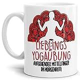 Tasse mit lustigem Spruch - Lieblings-Yoga-Übung - Witzige Bürotasse - Geschenk für Yoga-Fans - Weiß, 300 ml
