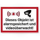 Komma Security Objekt Alarmgesichert Videoüberwacht Kunststoff Schild - Achtung Vorsicht Videoüberwachung - Hinweis Hinweisschild Videoüberwacht - Warnhinweis
