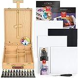 Arteza Großes Acryl Malset für Erwachsene, Acrylmalerei Starterset mit Farbe, Leinwänden, Papierblöcken, Pinseln, Kofferstaffelei, Künstler Set für Profis, Kinder und Erwachsene