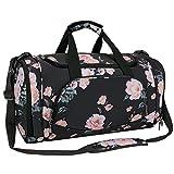 MOSISO Sport Gym Tasche Reisetasche mit Vielen Fächern, Wasserdicht Sporttasche Seesack für Tanzen, Fitness, Sport und Reise mit Schuh Abteil, Schwarz Basis Pfingstrose