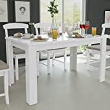 N / A vidaXL Esszimmertisch 140x80x75 cm, weiß Massiver Esstisch, Rechteckiger Küchentisch für Esszimmer Wohnzimmer Kü