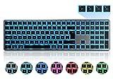 Beleuchtete Bluetooth Funktastatur, seenda Kabellose Tastatur mit LED Beleuchtung, Multi-Device (4 Bluetooth) Wireless Keyboard, QWERTZ Layout für Mac/iMac/PC/Laptop/Tablet/iPad(Space Grau)