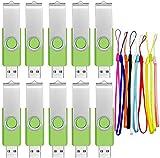 USB Flash Laufwerk 4GB 10 Stück USB Sticks Datenspeicher Grün Speicherstick 4 GB Pen Drive Tragbar Memory Stick Einklappbare Flash Drives für Werbegeschenke mit Seil by FEBNISCTE
