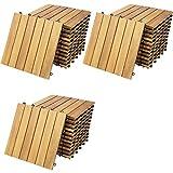Casaria Holzfliesen FSC®-zertifiziertes Akazienholz 3m² Fliese 30x30cm Klicksystem zuschneidbar Terrassenfliese Balk