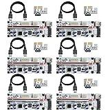 MZHOU 6 StüCk VER01010-X PCI-E 1X bis 16X Riser Card,mit 0,6m USB 3.0 Verlängerungskabel-für Bitcoin Miner Mining(Weiß)