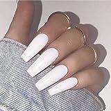 Brishow Sarg Künstliche Fingernägel Lange Falsche Nägel Reine Farbe Stick on Nails Ballerina Glänzende Vollabdeckung Acryl Falsche Nagelspitzen 20Pcs für Frauen und Mädchen (Weiß)