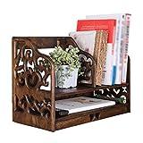 zxb-shop Bücher-Regal Massivholz-Desktop-Bücherregal Retro-Speicher-Organisator anzeigen Double Layer Regal Verwendete for Bücher und Dokumente Brown Boden-to-Decke Bücherregal