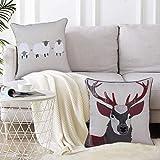always4u 2er Set Kissenbezug Gemusterter Bestickter Kissenbezüge mit Muster für Sofa Schlafzimmer Wohnzimmer Dekorative mit Verstecktem Reißverschluss Weich Bequem 45x45cm