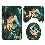 Fass Koco Mermaid Pattern Badematte Raumtoilettenmatte Dreiteiliger Teppich Wasserabsorbierend Nicht Verblassend Joker Set Komfortables Badezimmer rutschfeste Matte Maschinenwaschbar