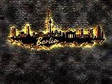 LED Wandbild Skyline aus Holz Berlin , tolle Geschenkidee ! Panorama Leinwandbild Holzbild Stadt Leuchtbild Souvenier Idee Geschenk 30. 40. 50. 60. 70. 80. Geburtstag Mann Frau Kind Einweihung
