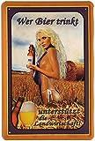 Tin Sign Blechschild 20x30 cm Wer Bier trinkt unterstützt die Landwirtschaft lustiger Spruch Pin up Girl blond Bar Kneipe Pub Cafe Haus + Garten Deko