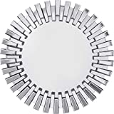 Kare Design Spiegel Sprocket Ø92cm, großer, runder XXL Wandspiegel mit Silberrahmen, moderner Design Dekospiegel, Silber (H/B/T) 92x92x4,5