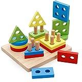 LVEDU Geometrisches Sortierbrett, 4 Farben, geometrisches Stapel, Lernspielzeug, 1–4 Jahre altes Baby, geometrisches Sortiergerät, Holzspielzeug