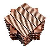 EINFEBEN Terrassenfliesen WPC Holz Kunststoff Fliesen,30x30cm,11 Stück,braun,Balkonfliesen Klickfliesen Garten Decking Déco,Wasserdicht,korrosionsbeständig