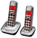 amplicomms BigTel 1202, Schnurloses Großtastentelefon mit zusätzlichem Mobilteil, Hörgerätkompatib