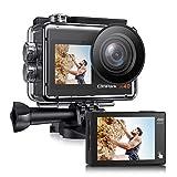 [2021 NEUESTE] Campark X40 Dual Bildschirm 4K 20MP WiFi Action Cam 40M Wasserdicht Unterwasserkamera (Touchscreen 2.4G Fernbedienung Externes Mikrofon Anti-Shake Helmkamera 2x1350mAh Akkus)