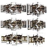 5 Stück Weltkarte Leinwand Malerei Modulare Bilder HD-Poster Drucke für Wohnzimmer Bibliothek Büro Wandkunst Home Decor Hanging-200 * 100cm-gerahmt