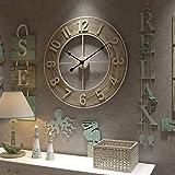 Funtabee 60 cm große hölzerne übergroße Wanduhr, Retro-Vintage-Wanduhr, leise, nicht tickend, stilvolles Design, ideal für Wohnzimmer, Küchen, Pubs, Dachböden, Cafés