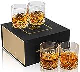 KANARS 4er Set Whisky Gläser, Bleifrei Kristallgläser, Whiskey Glas, 300ml, Schöne Geschenk Box, Hochwertig