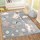 Fashion4Home   Kinderteppiche Giraffe mit Schmetterling und Blumen   Kinderteppich für Mädchen und Jungs   Teppich für Kinderzimmer Blau   Schadstofffrei Kinderzimmerteppiche geprüft von Öko-Tex