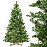 FairyTrees künstlicher Weihnachtsbaum NORDMANNTANNE Edel, Spritzguss & PVC, Ständer aus Holz, 180